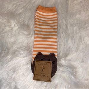 Orange Striped Cat Socks